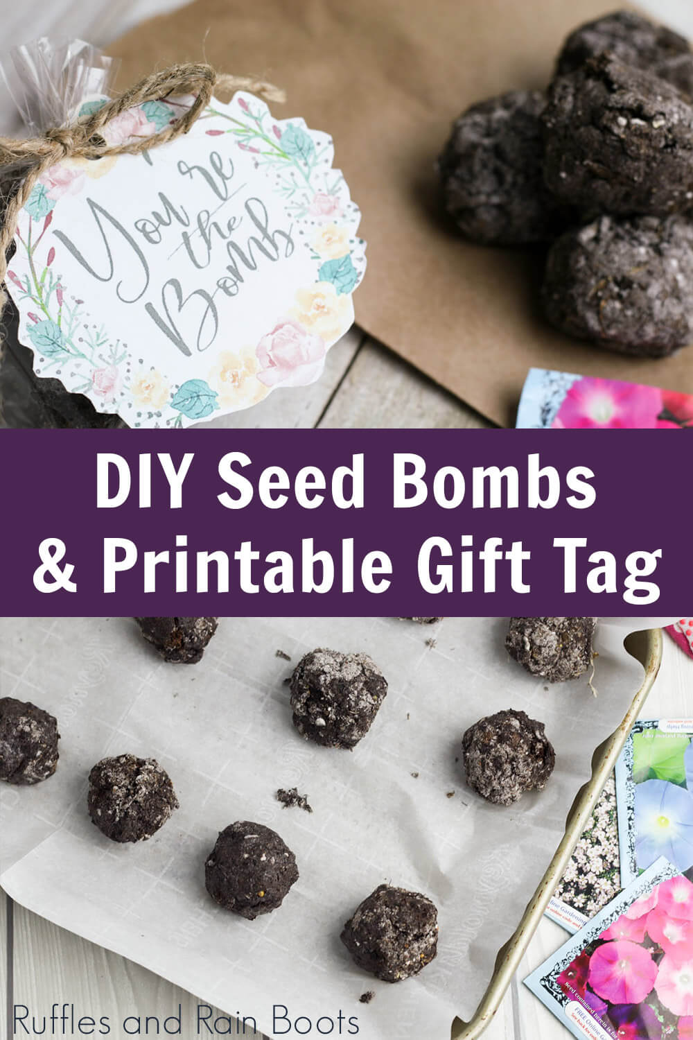 photo collage of diy seed bomb recipe with text which reads diy seed bombs & printable gift tags
