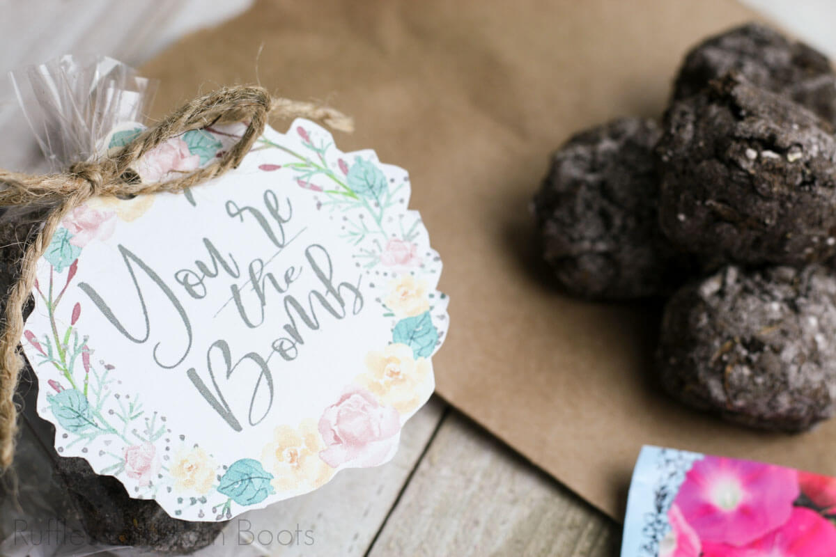 seed bomb recipe and printable gift tag on a wooden background with bags of seeds and a paper bag