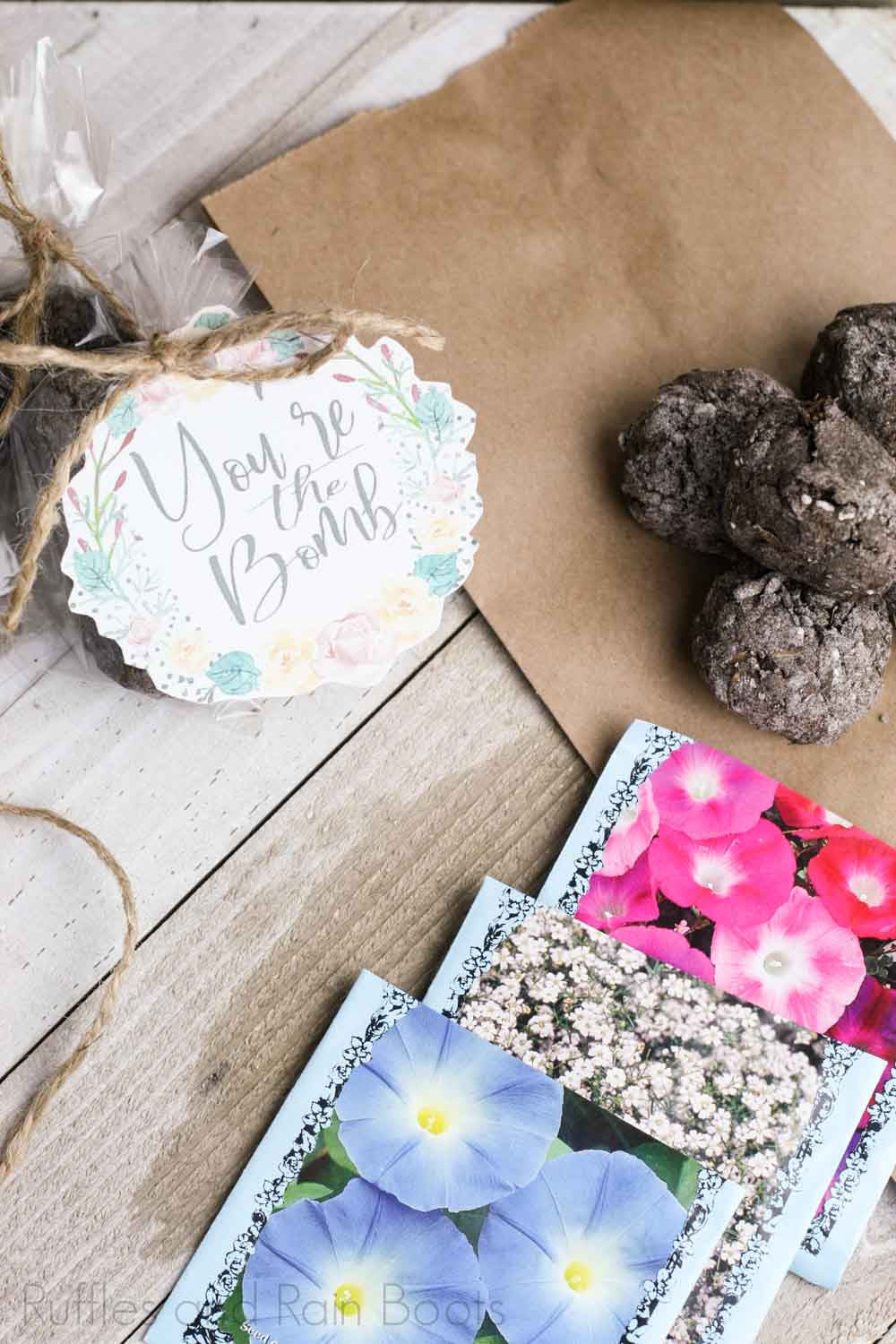 easy summer activity for ids seed bomb recipe on a wooden background with bags of flower seeds
