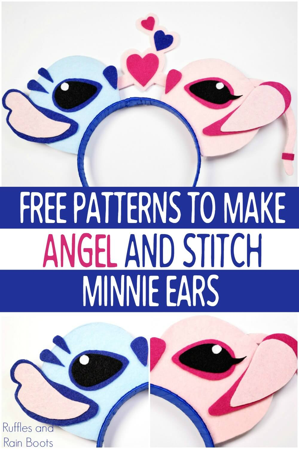 photo collage of adorable DIY Disney ears on white background with text which reads free patterns to make Angel and Stitch Minnie Ears