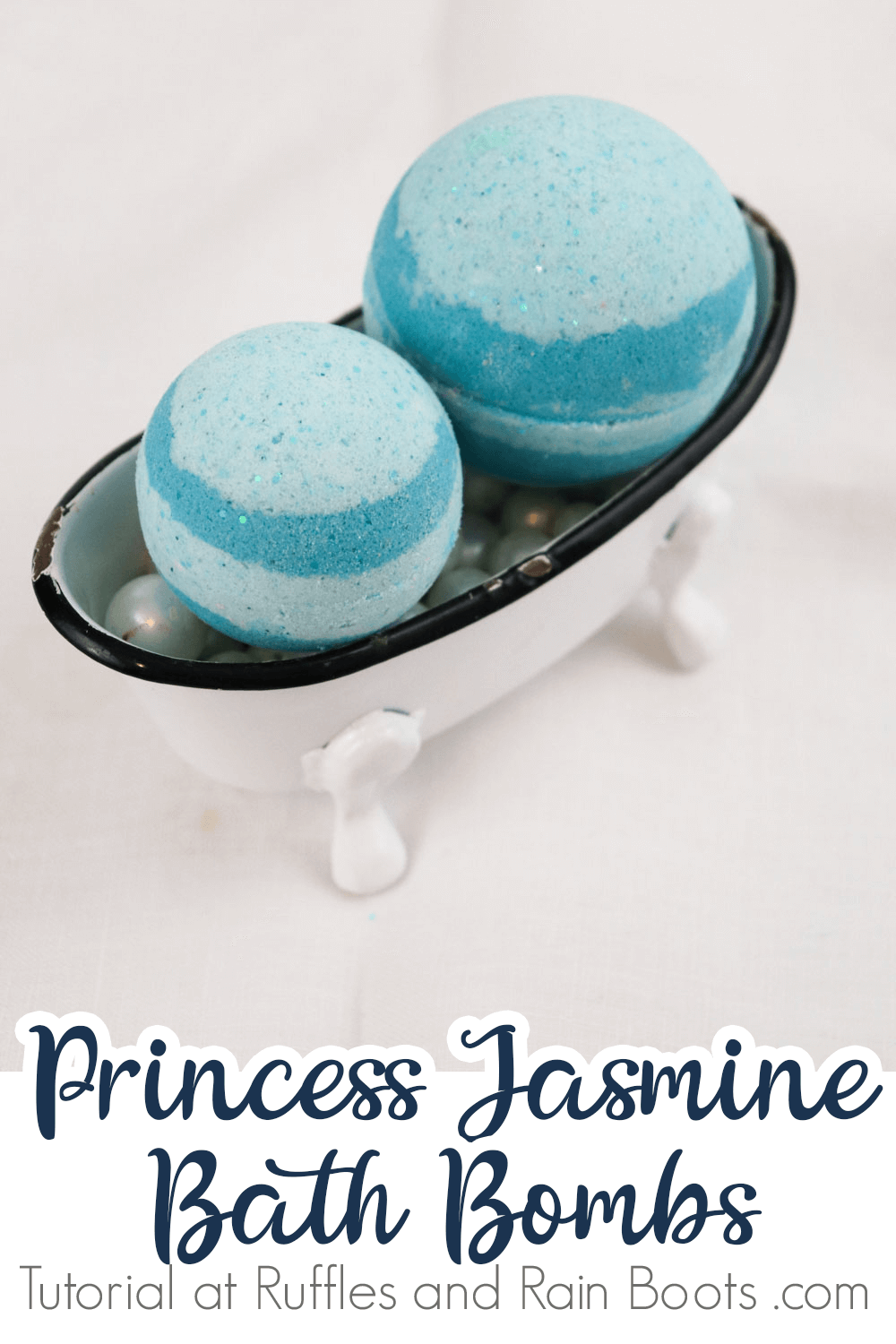 aladdin bath bomb recipe in a tiny bathtub on a white background with text which reads princess jasmine bath bombs