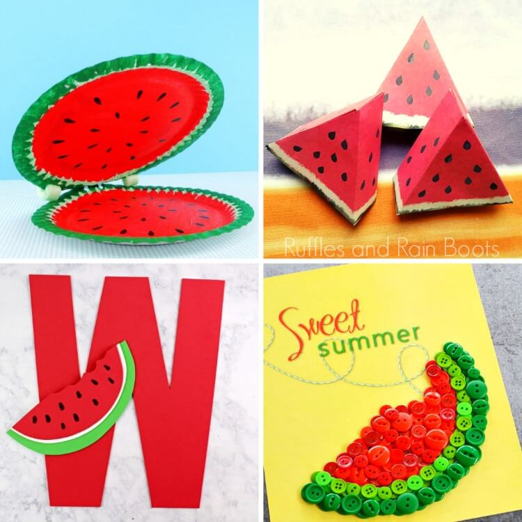 photo collage of watermelon crafts for kids