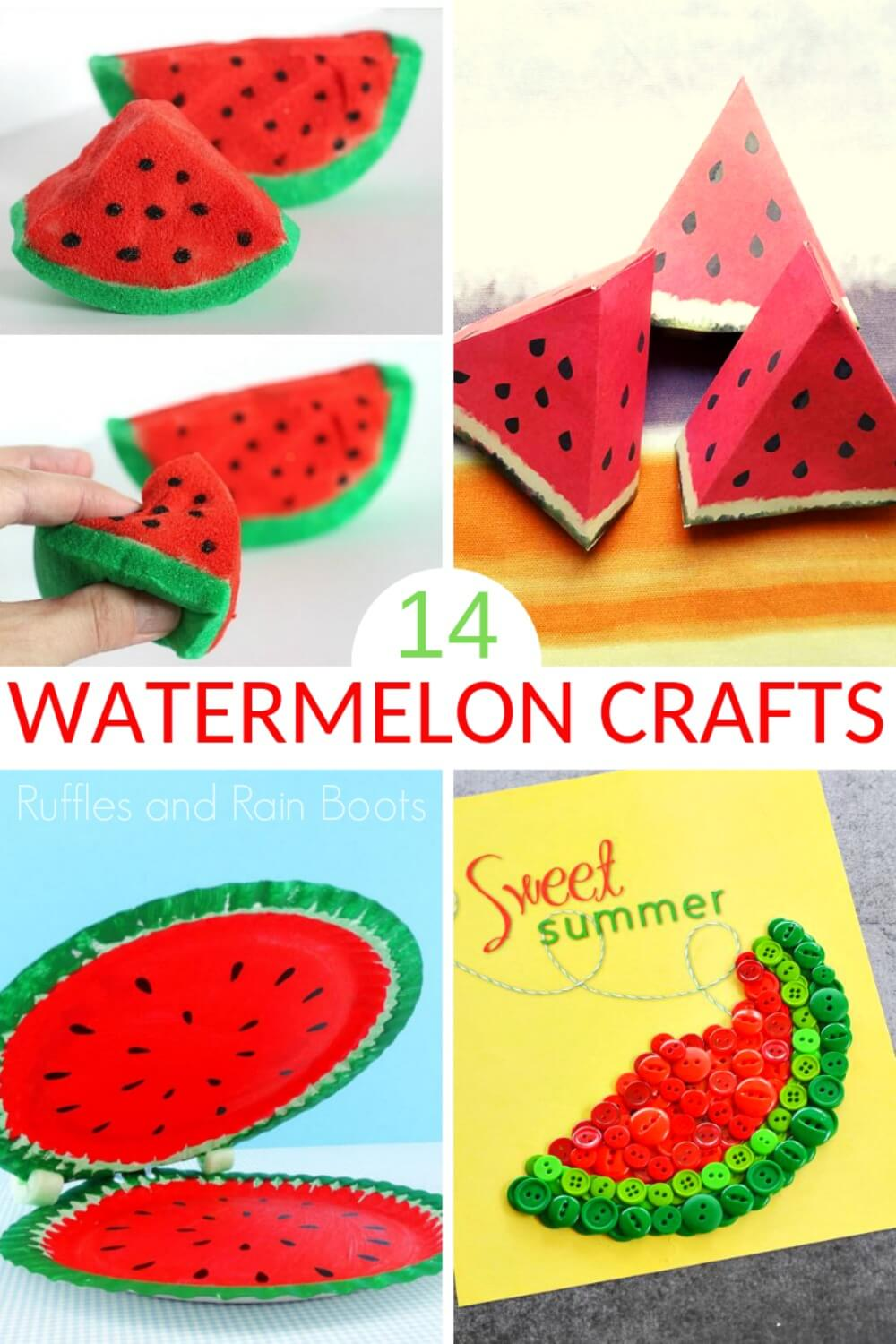 photo collage of watermelon crafts for summer with text which reads watermelon crafts