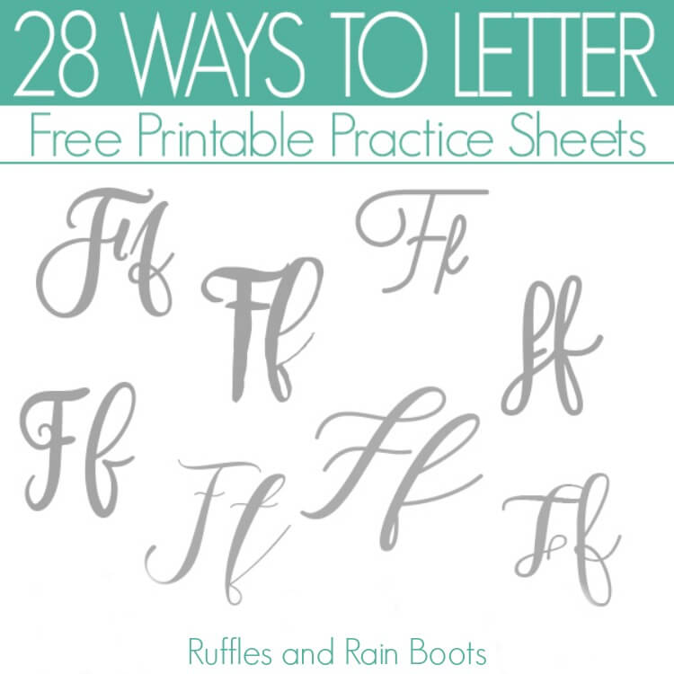 teal and gray image of the ways to letter F in brush calligraphy