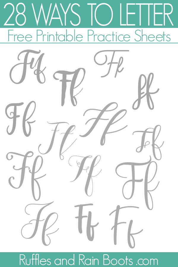 many styles of hand lettering with text which reads 28 ways to letter F brush calligraphy