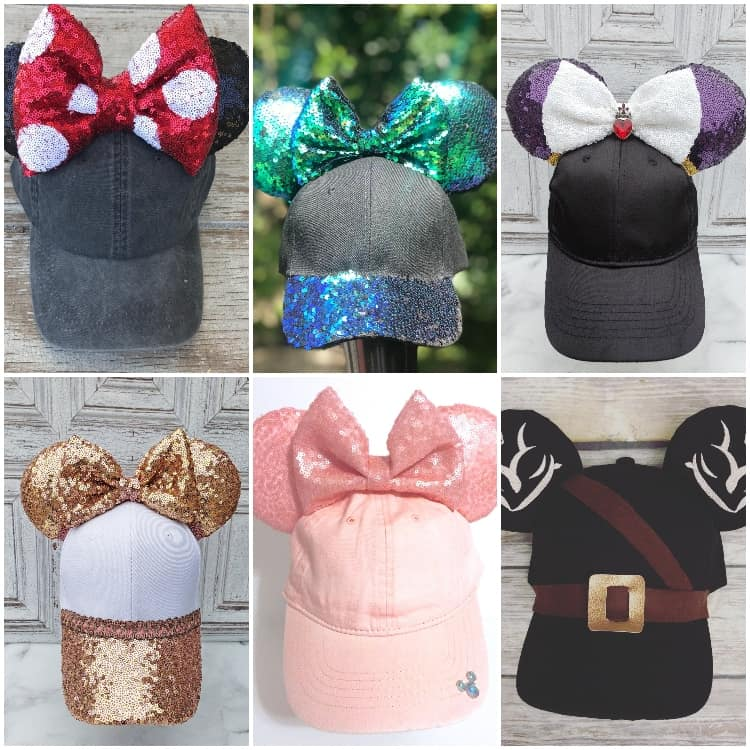 photo collage of mickey mouse ear caps for disney trip