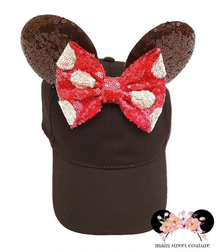 Minnie Black and Red White Polka Dot Sequin Ears