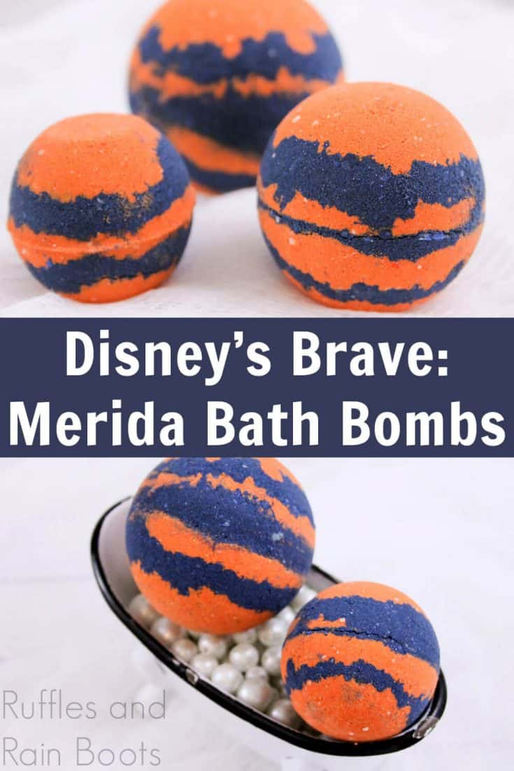 I can't wait to make these Merida bath bombs for the kids! They're going to love it--Brave is their favorite movie right now. Click here to check out this easy Disney bath bomb recipe. #bathfizzy #diybath #disneybathbomb #meridabathbombs #rufflesandrainboots