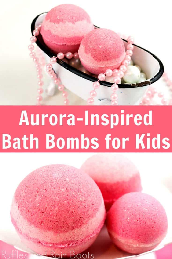 Oh, my daughter is going to love getting these Sleeping Beauty bath bombs in her favor bags for her Sleeping Beauty party! Click through to see this easy recipe for Auroroa bath bombs--and a ton of other Disney bath bombs, too! #aurorabathbombs #sleepingbeautybathbombs #rufflesandrainboots