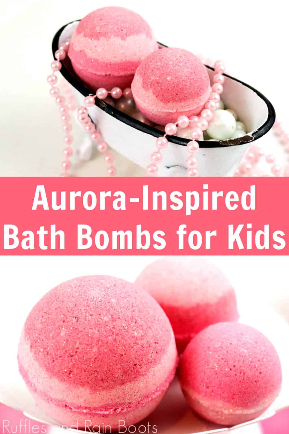 photo collage of sleeping beauty aurora bath bombs disney princess with text which reads aurora-inspired baht bombs for kids