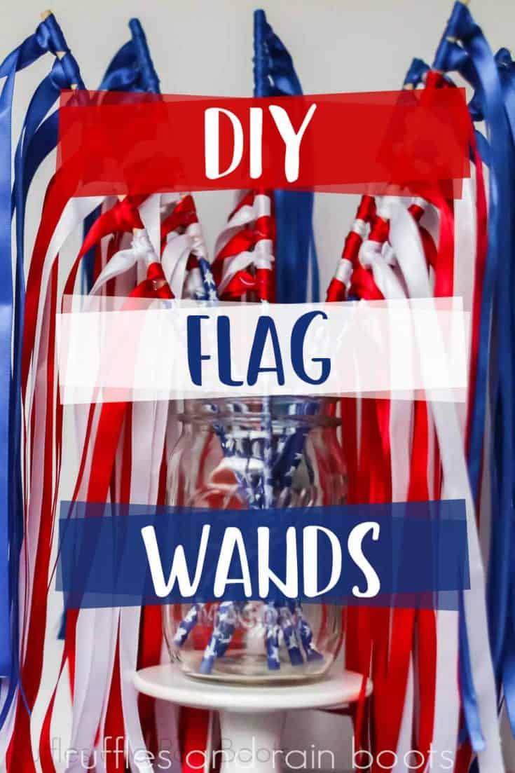 Oh this easy kids July 4th craft is so cool! And such a simple fine motor craft too. And so much fun later playing with these July 4th ribbon wands, for sure. #ribbonwands #flagribbonwands #rufflesandrainboots