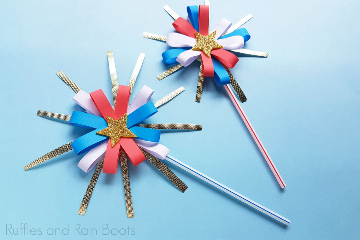 two easy paper firework craft for 4th of July on a blue background