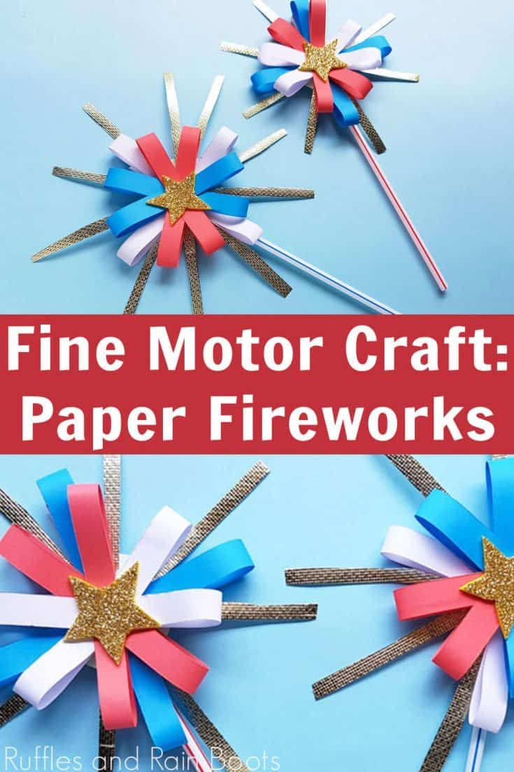 What a genius way to let kids who hate the sound of fireworks still enjoy the 4th of July! I love this paper firework craft for kids. Click here to see how to make these easy 4th of July craft for kids! #4thofJulycraft #paperfirework #rufflesandrainboots