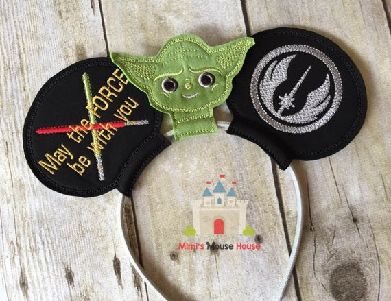 Yoda with Order of Jedi Emblem and Light Sabers Mouse Ears