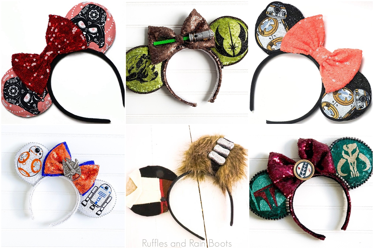 photo collage of the best star wars mickey ears