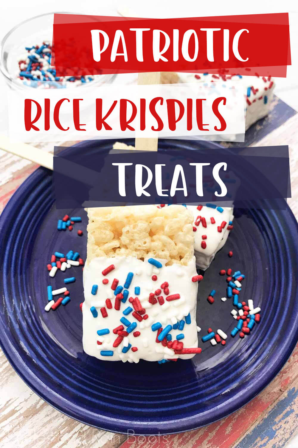 text overlay which reads patriotic rice krispies treats over image of red white and blue rice krispies treats on a blue plate on a multicolored wood table