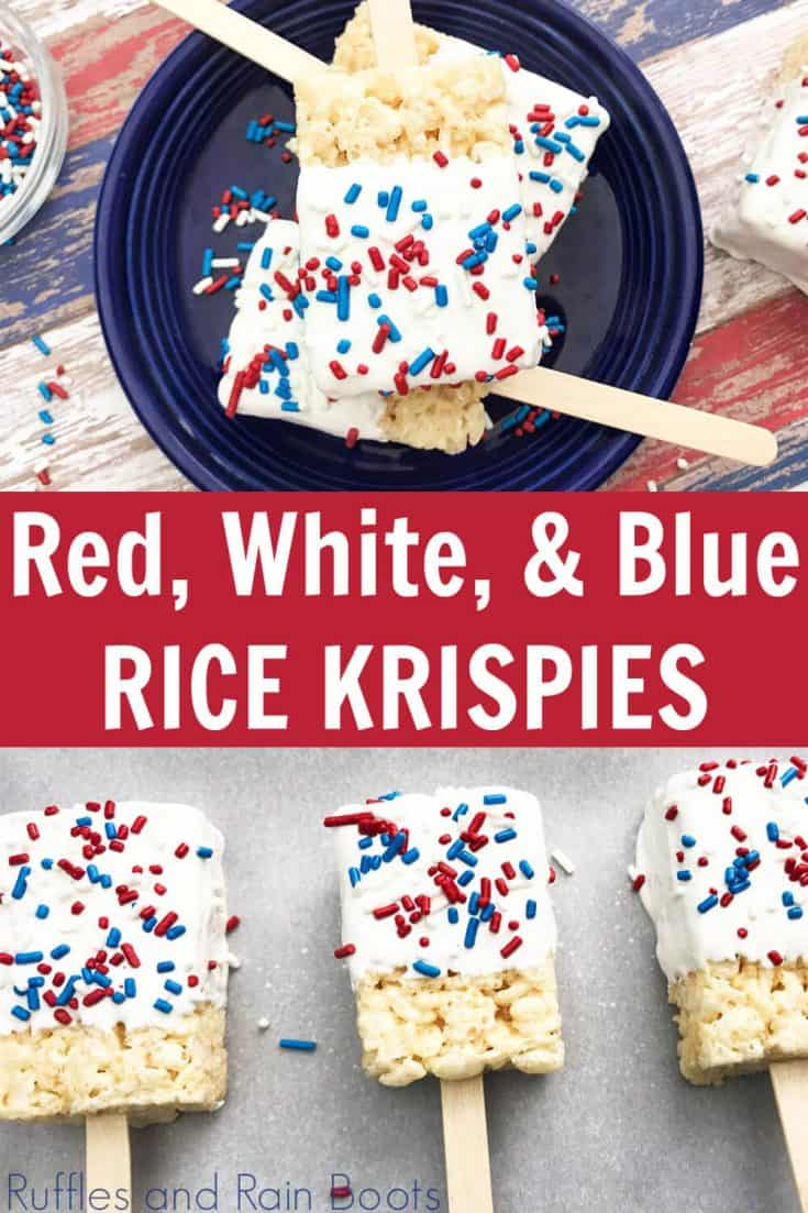 I am definitely putting these patriotic Rice Krispies on my July 4th dessert table. They are so easy and fun and the kids will be able to make them all by themselves. Click through to see how to make these simple red white and blue Rice Krispies treats. #july4thdesserts #4thofJuly #IndependenceDay #patriotictreats #rufflesandrainboots