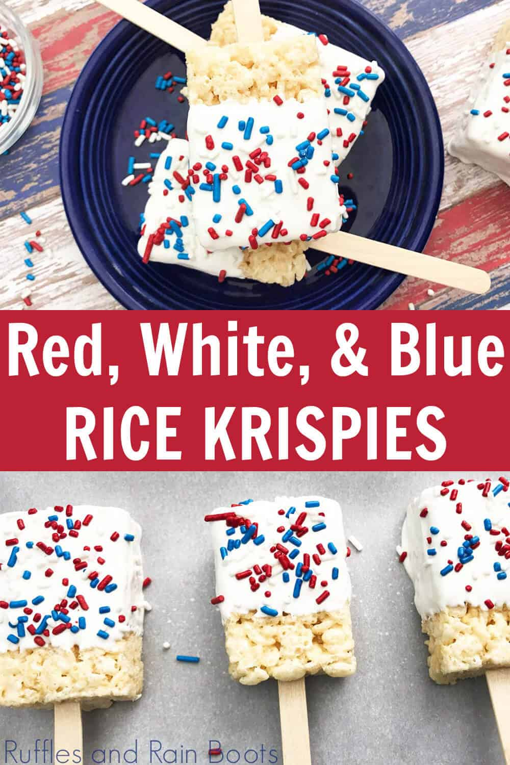 photo collate of easy july 4th dessert with text which reads red, white and blue rice krispies