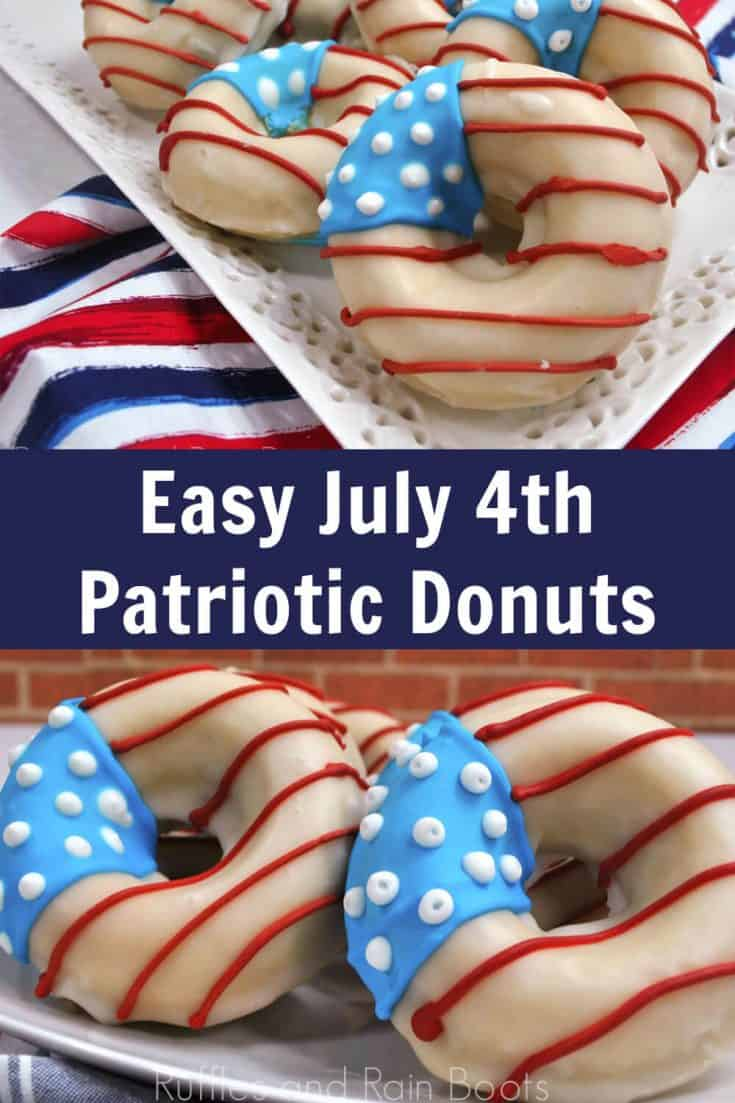 These patriotic flag donuts are the coolest Independence Day food idea! The kids will get a kick out of helping to make these patriotic doughnuts for sure. Click through to get the easy recipe. #donutrecipe #doughnutrecipe #flagfood #independenceday #rufflesandrainboots