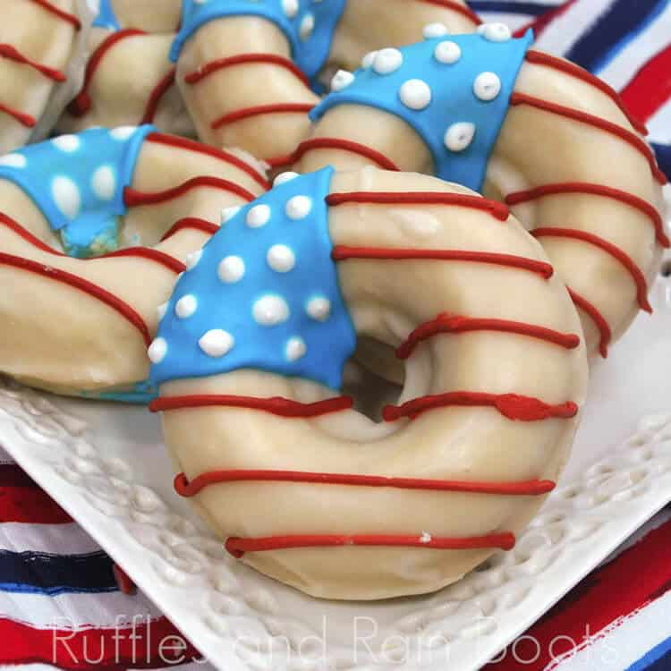 patriotic flag donuts on a red white and blue linen