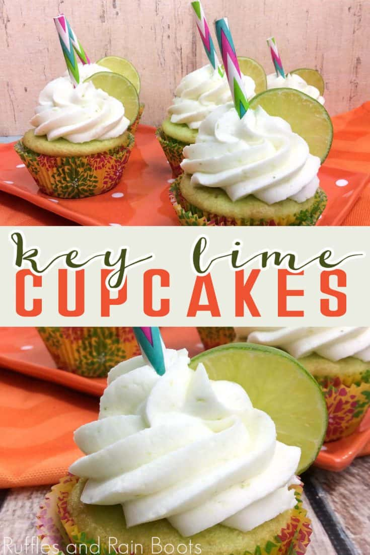 These key lime cupcakes are so easy and fun! A great summer cupcake idea for any party! Click through to see how to get this easy key lime cupcake recipe!  #keylimecupcakes #keylime #keylimerecipes #rufflesandrainboots
