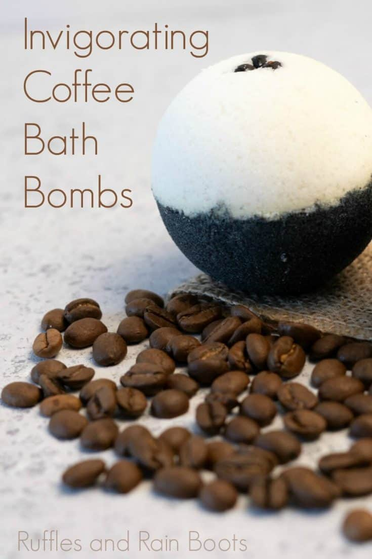 What an easy recipe for coffee bath bombs! They probably smell amazing. I can't wait to try this simple coffee bath bomb recipe. #coffeebathbom #espressobathbombs ##rufflesandrainboots