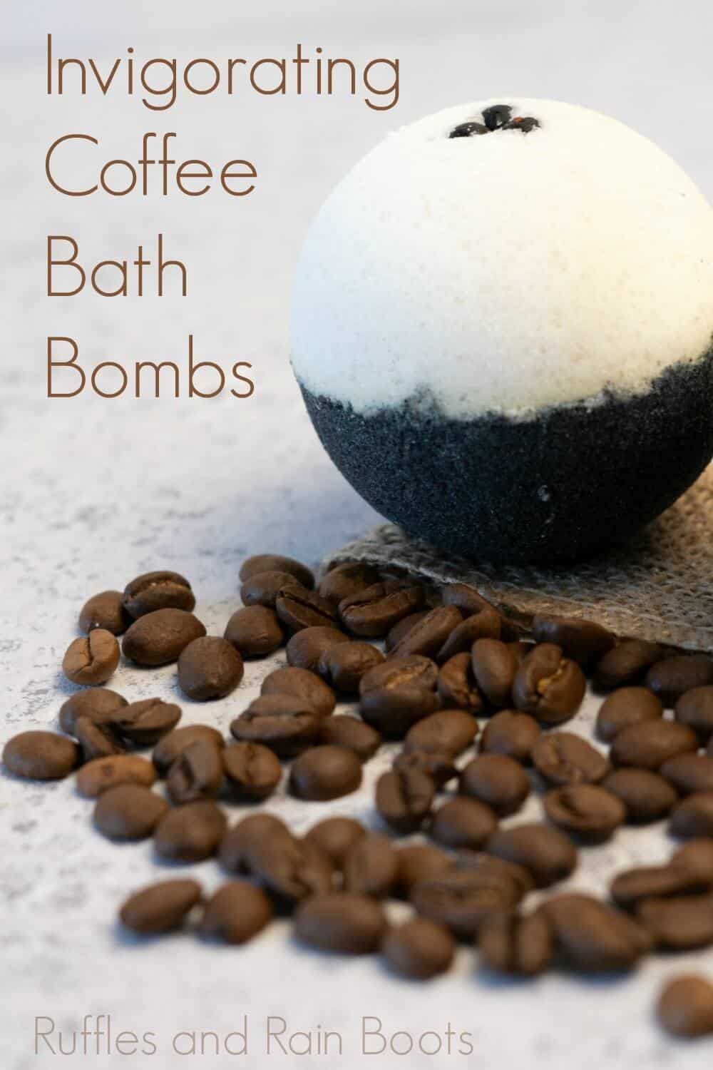 single invigorating coffee bath bombs with easy recipe on a grey table with coffee beans with text which reads invigorating coffee bath bombs