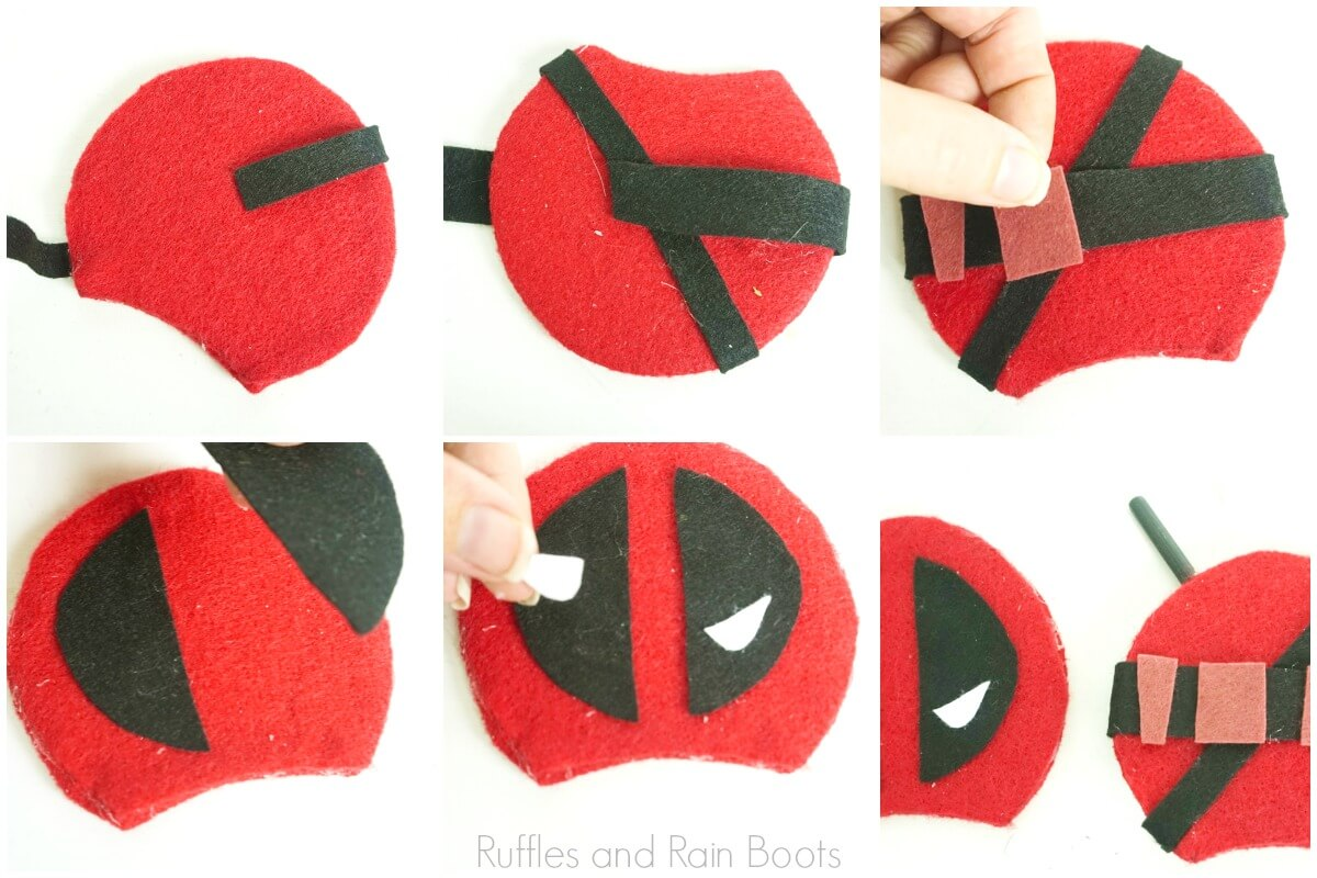 photo tutorial of how to assemble deadpool mickey ears by glueing felt