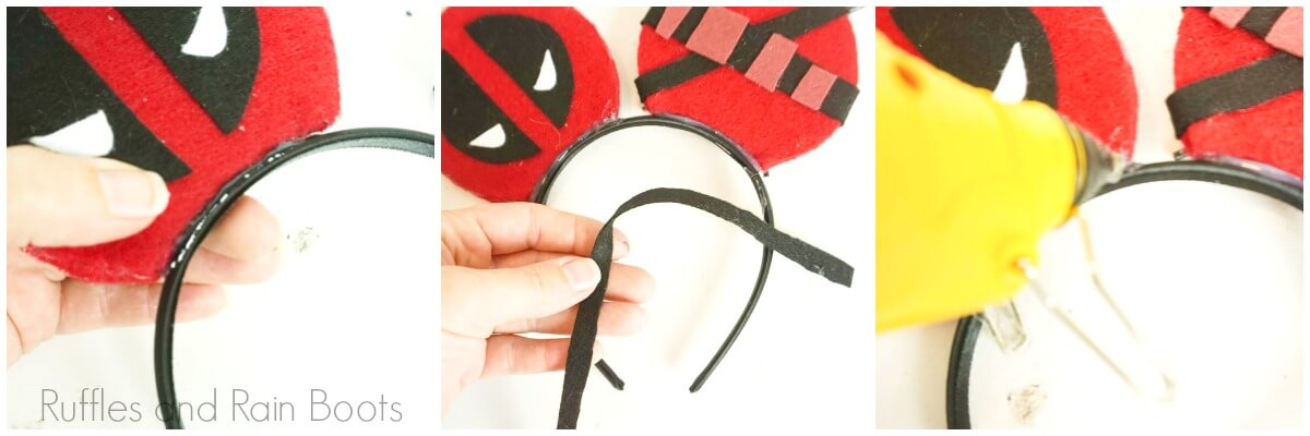 photo tutorial of how to assemble deadpool mickey mouse ears