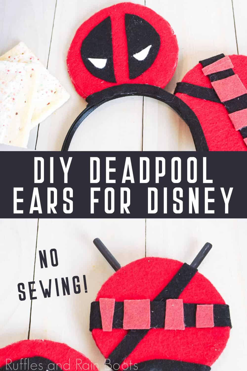 photo collage of awesome deadpoo ears for disney diy mickey ears with text which reads diy deadpoo ears for disney no sewing