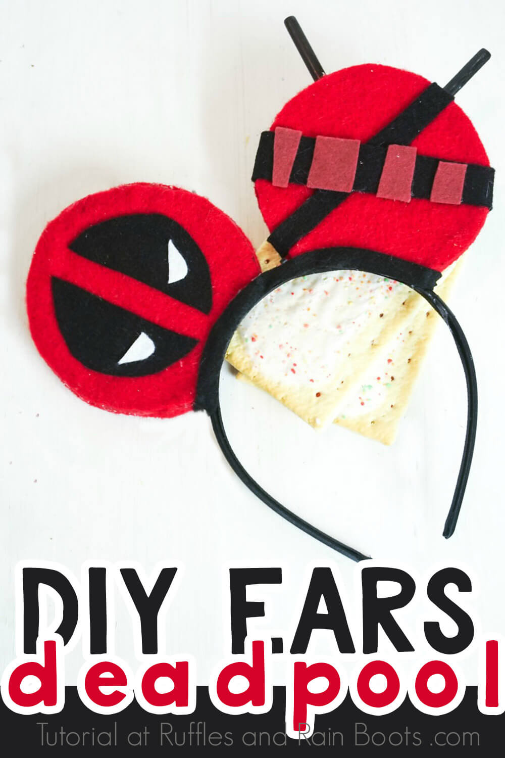 deadpool mickey ears no sew diy on a white background with poptarts with text which reads diy ears deadpool