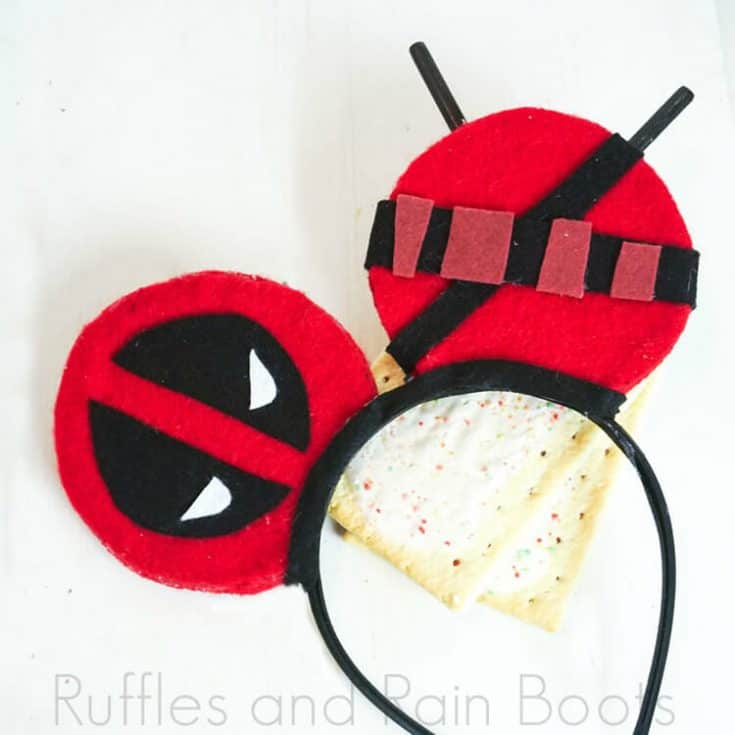 deadpool mickey ears on a white background with pop tarts