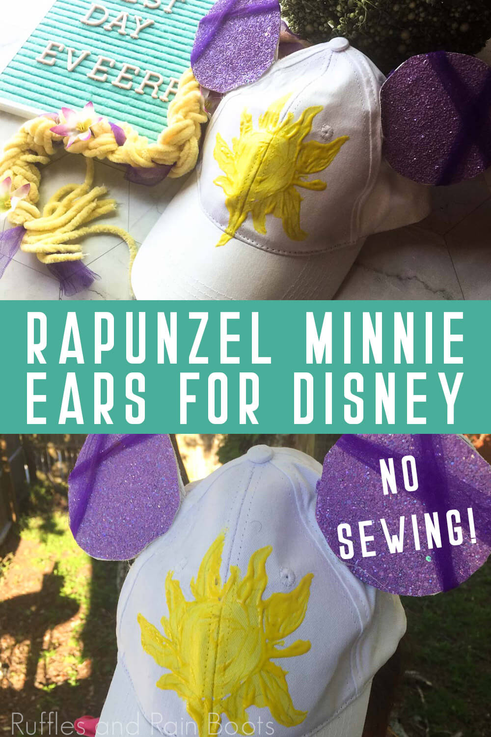 photo collate simple DIY minnie ears ball cap for kids with text which reads rapunzel minnie ears for disney no sewing