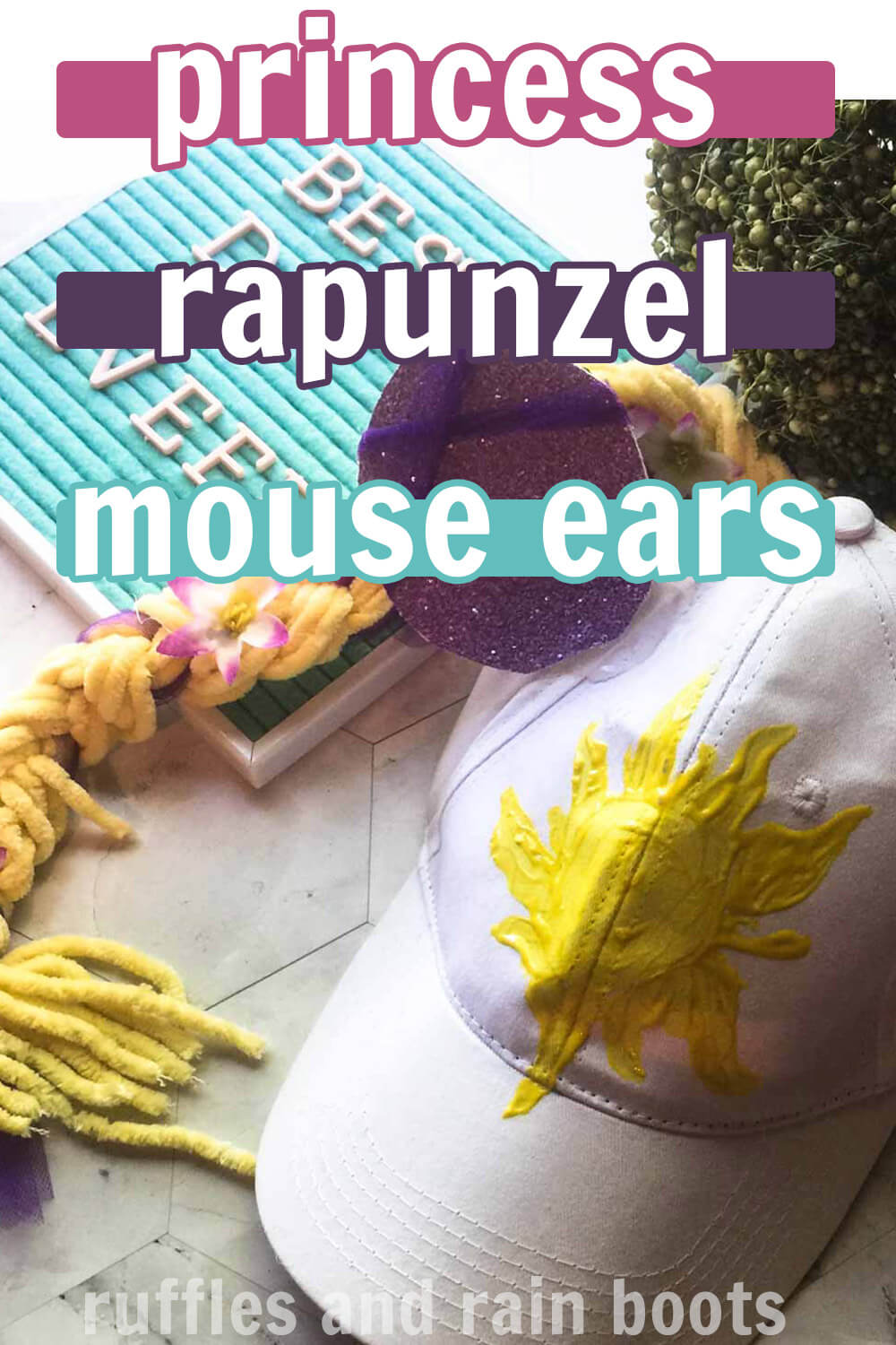 rapunzel minnie ears hat tutorial on a white background with text which reads princess rapunzel mouse ears