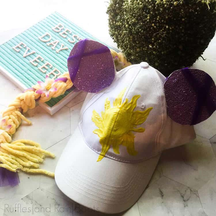 cute rapunzel minnie ears hat on a white background