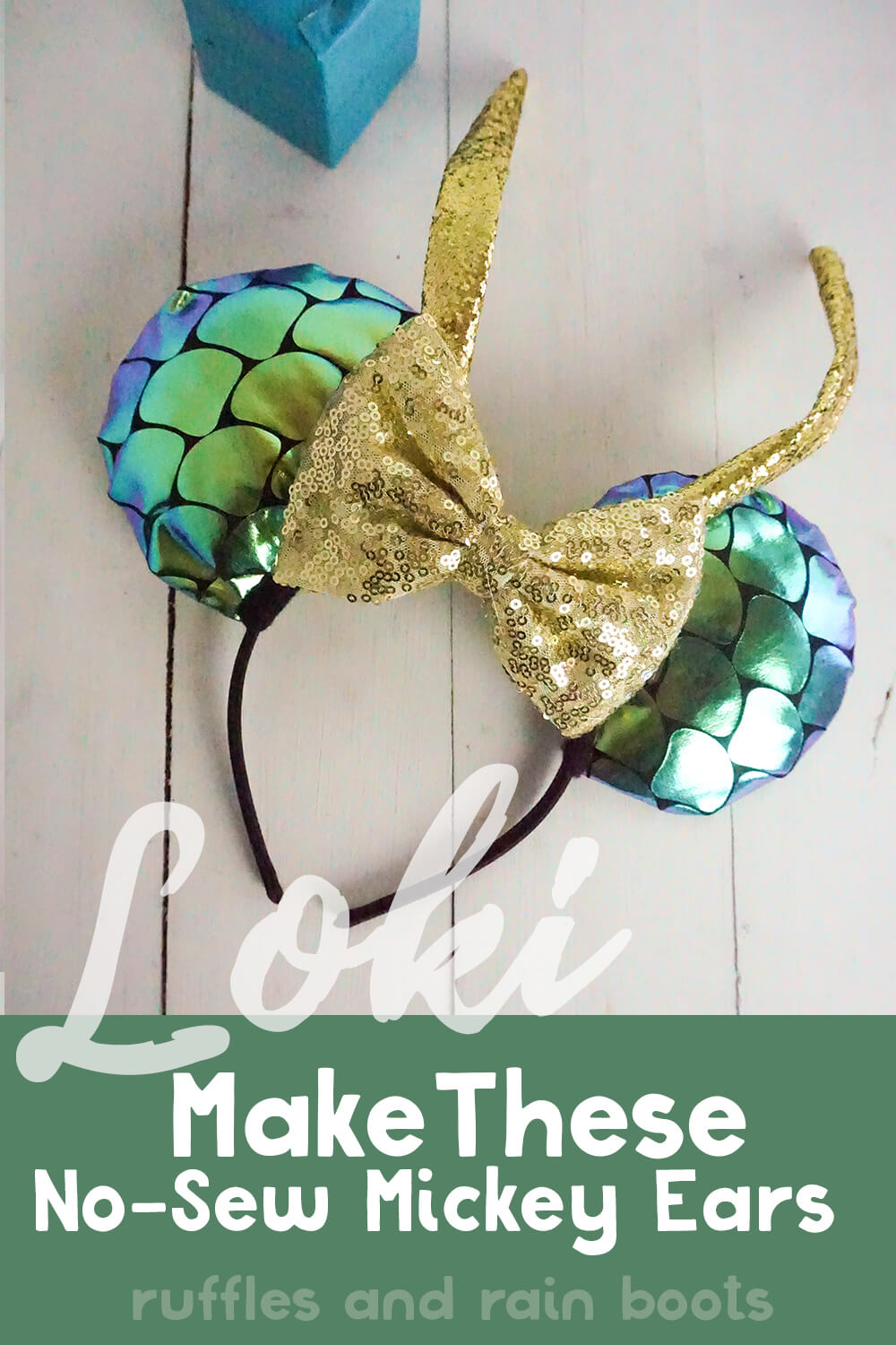 no sew mickey ears loki inspired on a white wood table with text which reads loki make these no-sew mickey ears