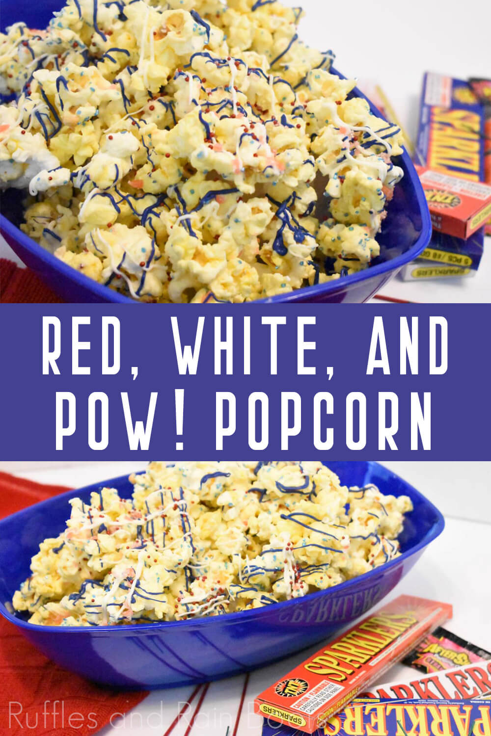 collage of popcorn for Independence Day with candy and pop rocks