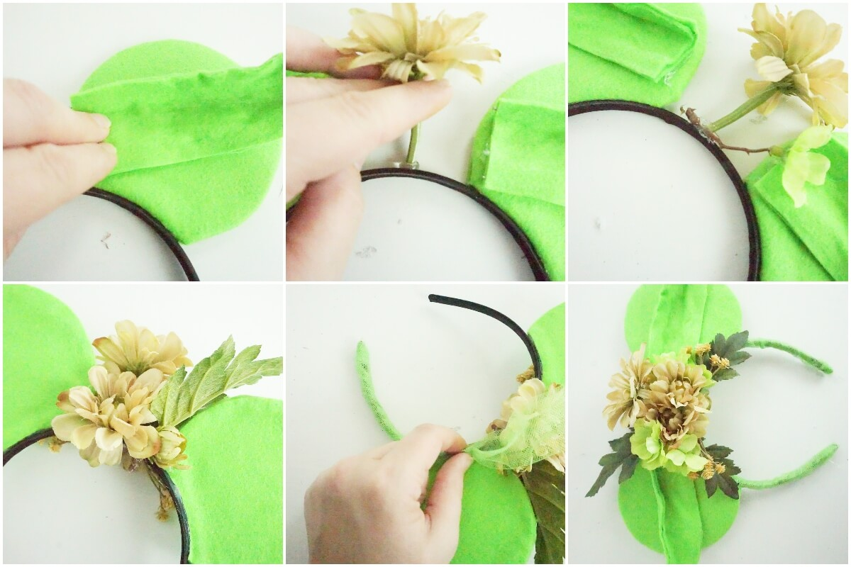 photo collage tutorial of easy diy star wars mickey ears yoda