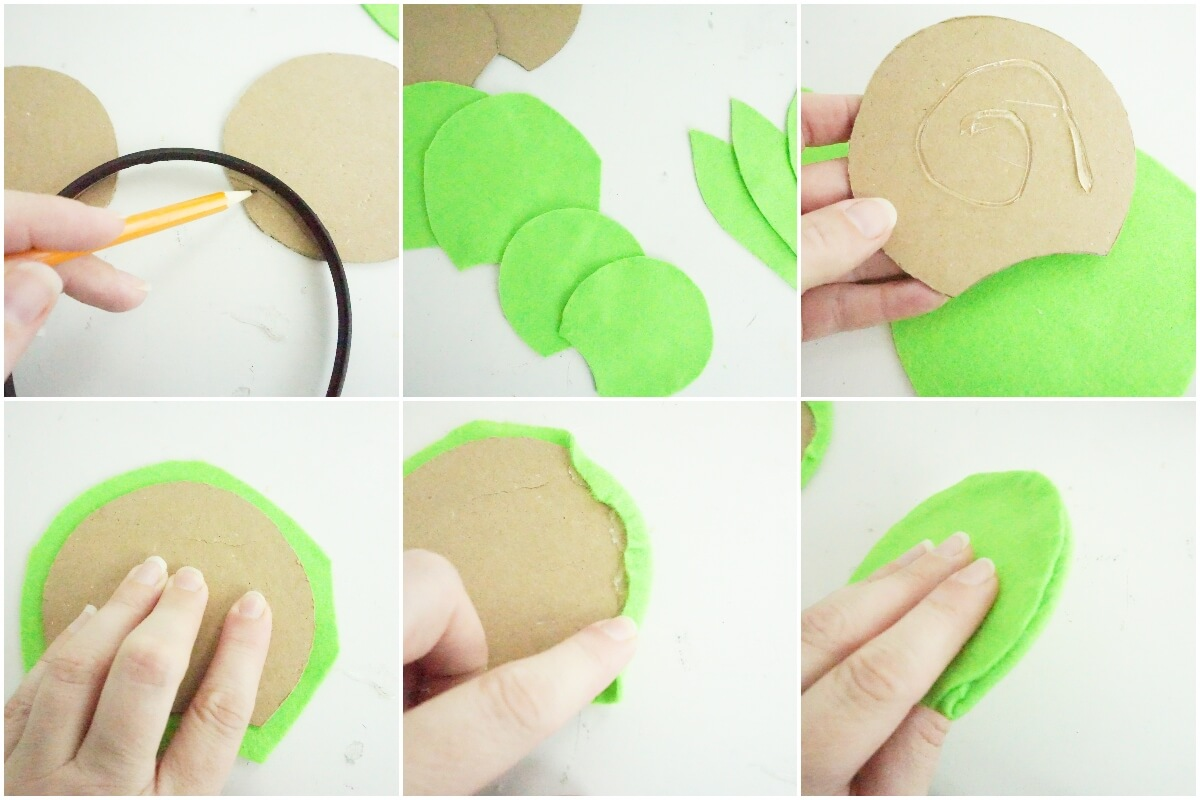 photo collage tutorial of how to make mickey yoda ears for disney