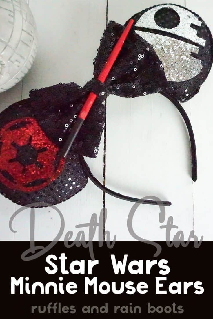 I NEED these Death Star Mickey ears for my trip to Star Wars Galaxy's Edge! These Dark Side ears are just so awesome. Click here to see how she makes these easy DIY Star Wars ears for Disney quick!  #mickeyears #thedarkside #disney #deathstarmickeyears #starwarsmickeyears #rufflesandrainboots