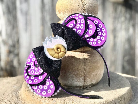 Sea Witch-Inspired Mickey Ears with Bow