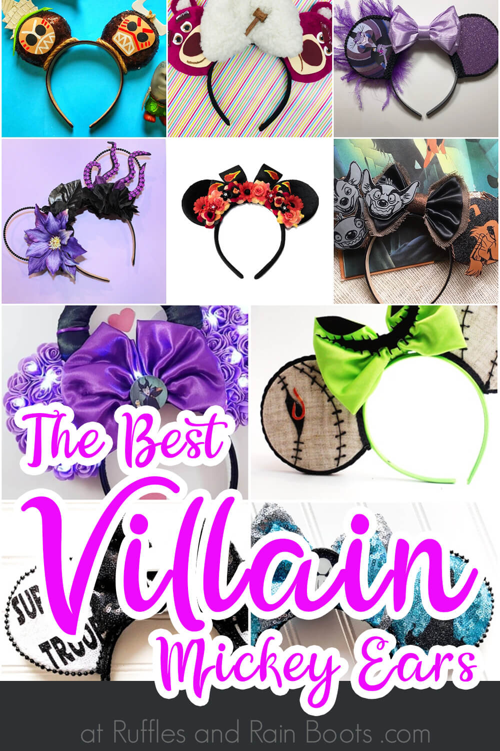photo collage with text which reads the best villain mickey ears