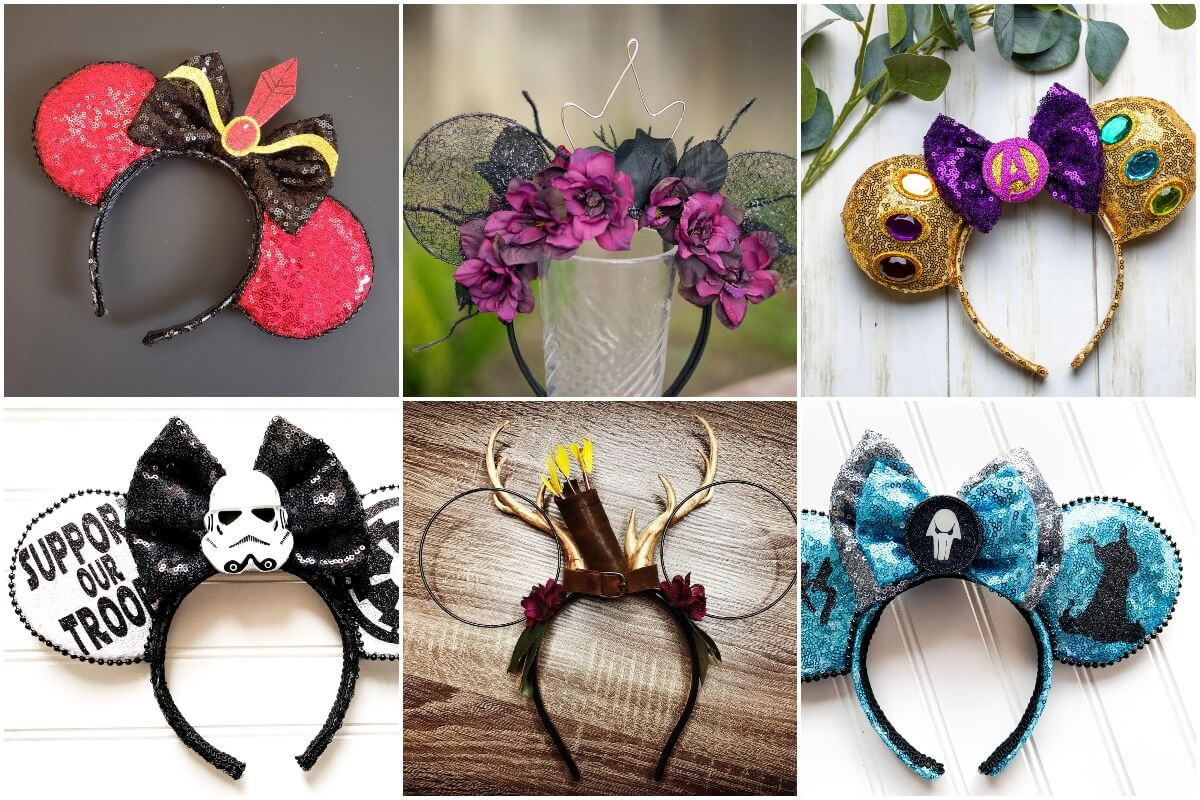 photo collage of several where can I find disney villain mickey ears