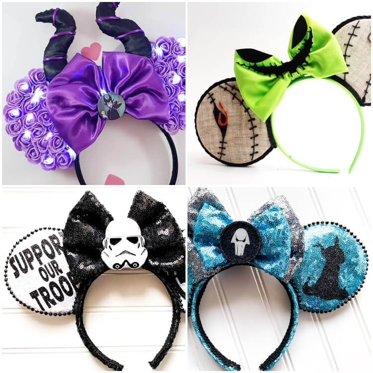 photo collage of where do you get mickey ears with disney villains