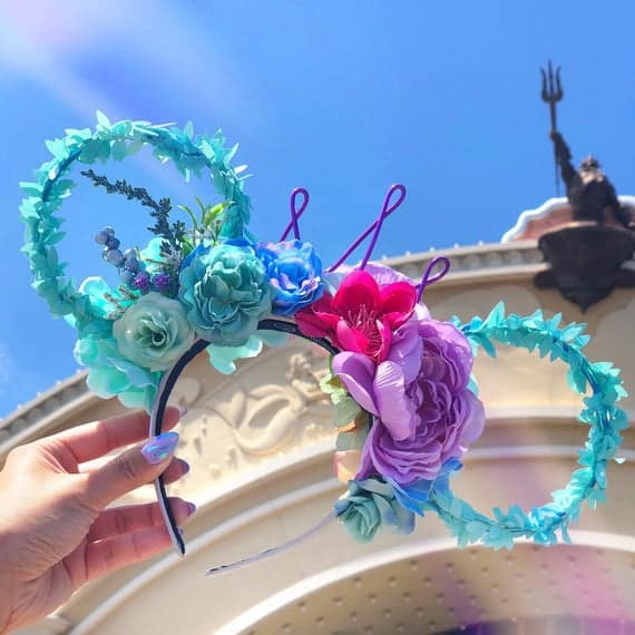 Light up Flower Crown Mermaid Mickey Ears