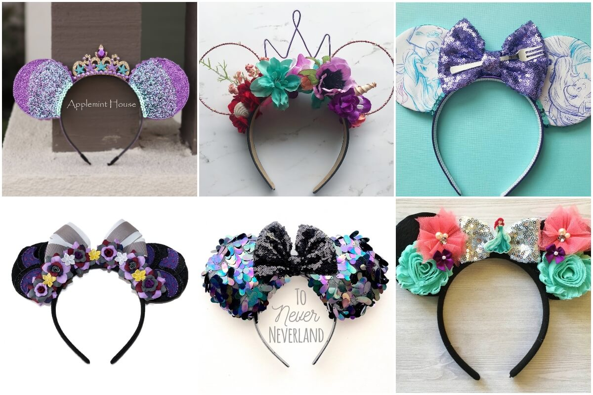 photo collage of various examples of how to make aril mickey ears for disney