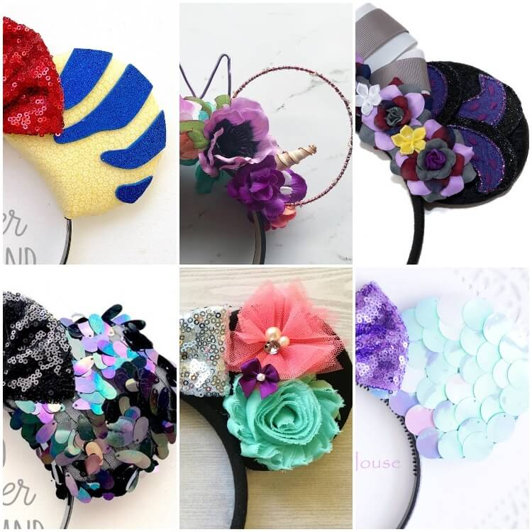 close up photo collage of prettiest ariel minnie ears for disney