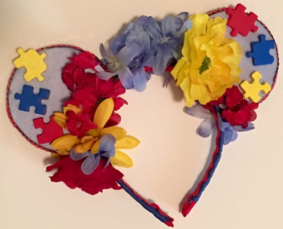 Autism Awareness Floral Mickey Ears