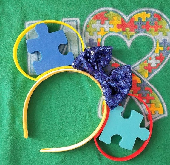 Autism Acceptance Support Awareness Puzzle Piece 3D Printed Mickey Minnie Ears Headband