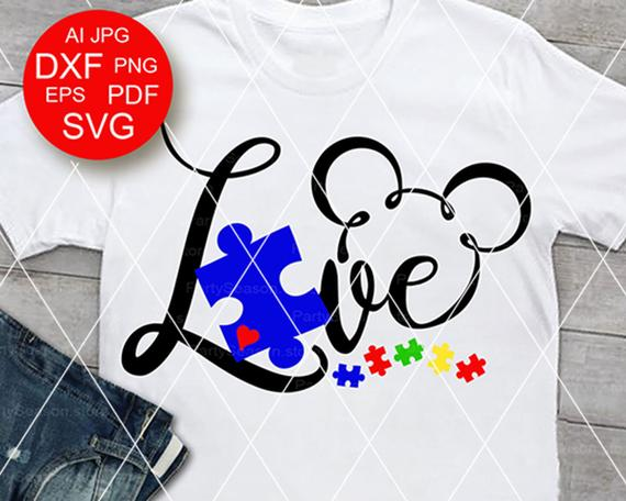 Love SVG Files to make Your Own Autism Mickey Shirt